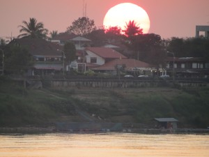Sunset over Thailand from Vientiane