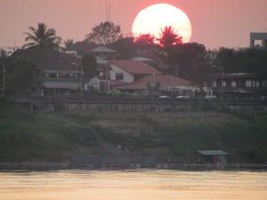 Sunset over Thailand from Vientiane