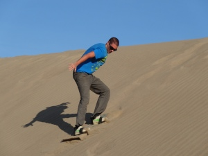 Sand boarding show off